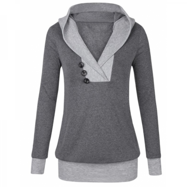 Women Button Style V-Neck Long Section Grey Hoodie Sweater image