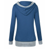 Women Button Style V-Neck Long Section Blue Hoodie Sweater image