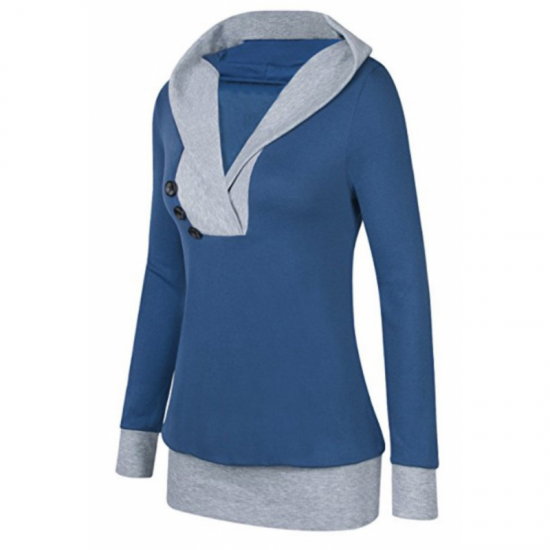 Women Button Style V-Neck Long Section Hoodie Sweater-Blue image