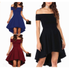 Women Slash A-Line Off Shoulder Sexy Party Casual Black Dress image
