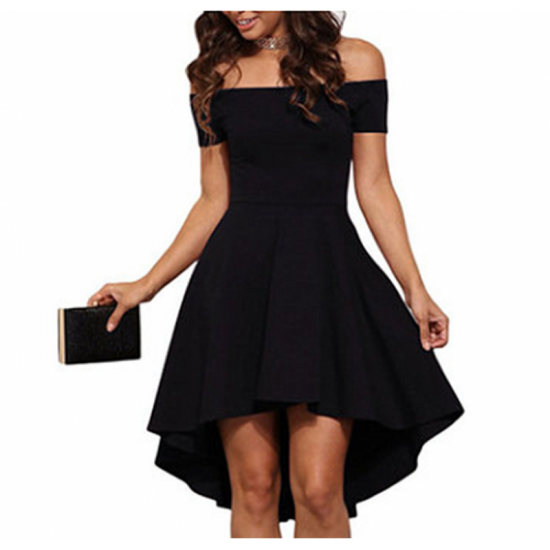 Women Slash A-Line Off Shoulder Sexy Party Casual Black Dress image