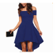 Women Slash A-Line Off Shoulder Sexy Party Casual Blue Dress image