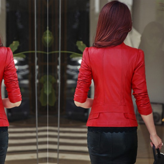 Women Trendy Body Fit Design Leather Red Casual Jacket image