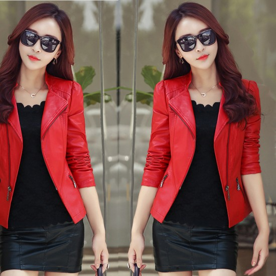 Women Trendy Body Fit Design Leather Casual Jacket-Red image