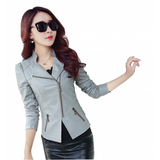 Women Trendy Body Fit Design Leather Casual Jacket-Grey image
