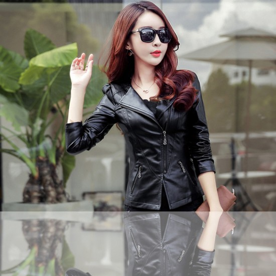 Women Trendy Body Fit Design Leather Casual Jacket-Black image