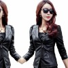 Women Trendy Body Fit Design Leather Black Casual Jacket image