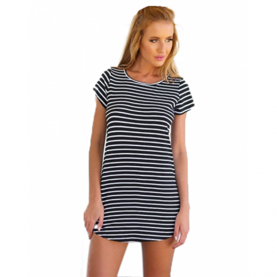 Women Striped Sea Soul Waist Round Neck Short Mini Dress-Black image