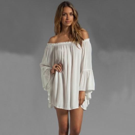 New Off the Shoulder Loose Women Chiffon Long Sleeve White Shirt image