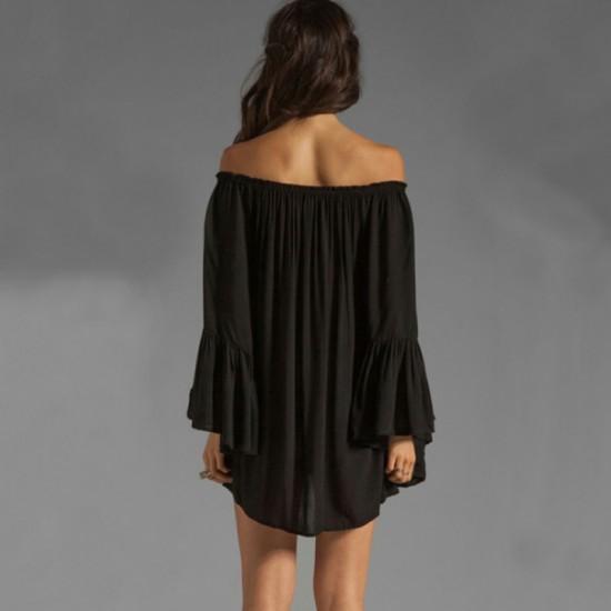 New Off the Shoulder Loose Women Chiffon Long Sleeve Black Shirt image