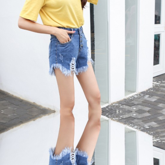 Women's High waist buckle sexy hole denim Elastic Jeans Skirt-Light Blue image