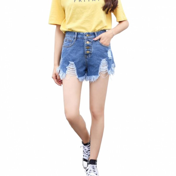 Women Light Blue Nets Hole Denim Elastic Jeans Skirt image