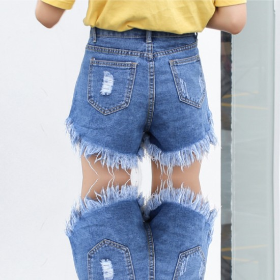 Women's High waist buckle sexy hole denim Elastic Jeans Skirt-Light Blue image