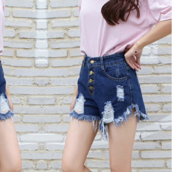 Women's High waist buckle sexy hole denim Elastic Jeans Skirt-Dark Blue image