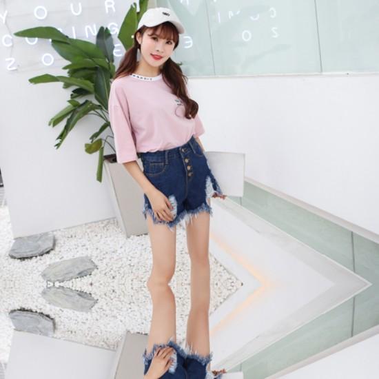 Women's High waist buckle sexy hole denim Elastic Jeans Skirt-Dark Blue image