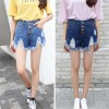 Women Dark Blue Nets Hole Denim Elastic Jeans Skirt image
