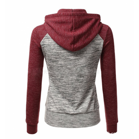 Women Pullover Hoodie Cotton Casual Sweater-Red & Grey image
