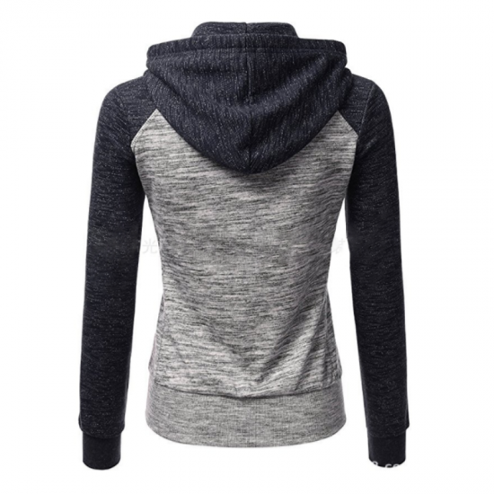 Women Pullover Hoodie Cotton Casual Sweater-Grey & Blue image