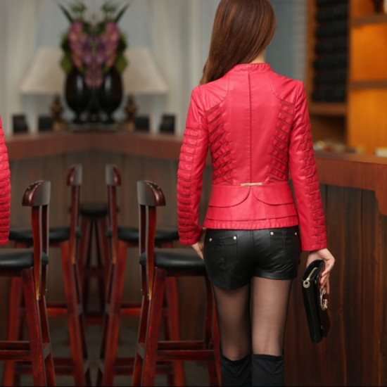 Womens Fashion Korean Splicing Red Color Leather Casual Jacket image