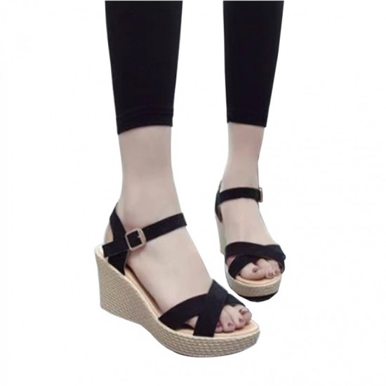 Vintage High Heel Wedge Sandals For Women-Black image