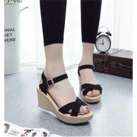 Black Color Vintage High Heel Wedge Sandals For Women image