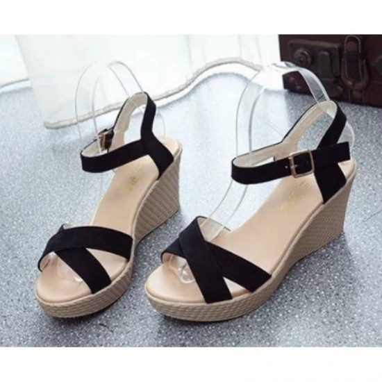 Vintage High Heel Wedge Sandals For Women-Black image