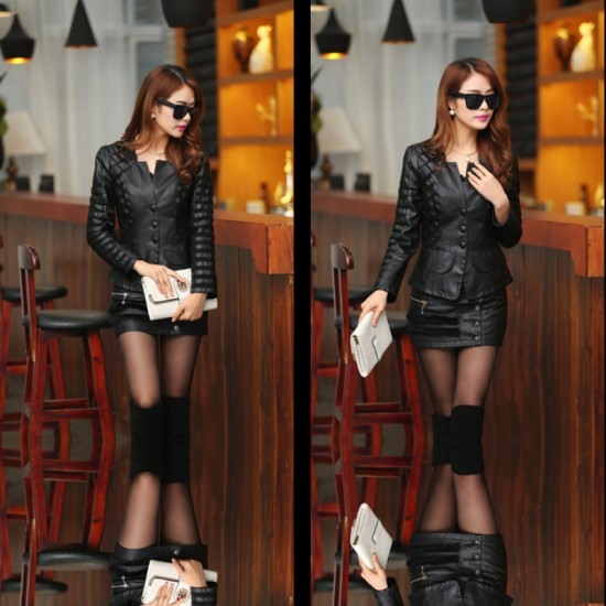 Womens Fashion Korean Splicing Black Color Leather Casual Jacket image