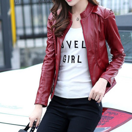 Latest Trending Body-fit Leather Women Casual Jacket-Red image