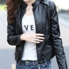 Latest Trending Body Fit Black Color Leather Womens Casual Jacket image