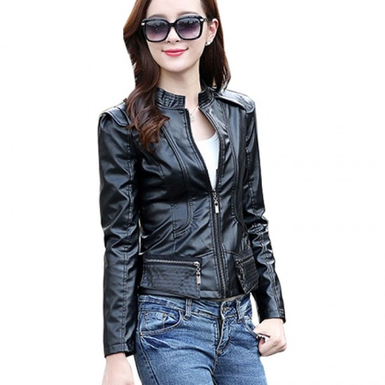 Latest Trending Body Fit Leather Women Casual Jacket-Black image