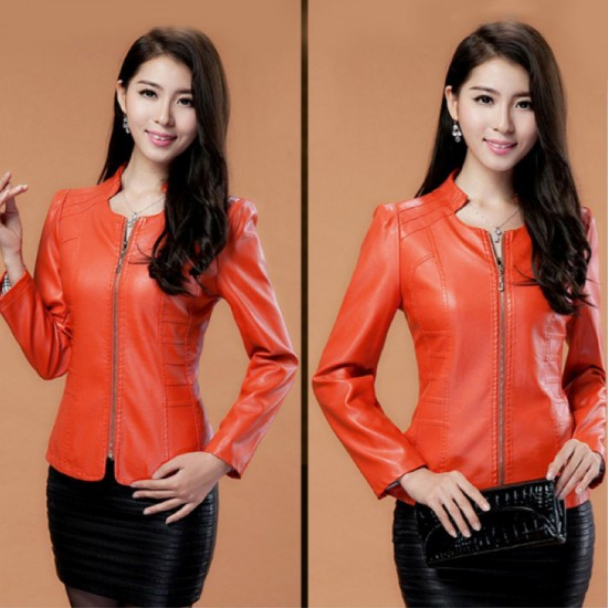 Women Fashion Locomotive PU Leather Casual Jacket-Orange image