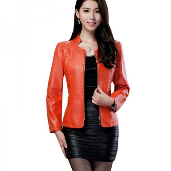 Womens Fashion Orange Color Locomotive PU Leather Casual Jacket image