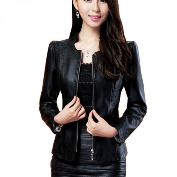 Womens Fashion Black Color Locomotive PU Leather Casual Jacket image