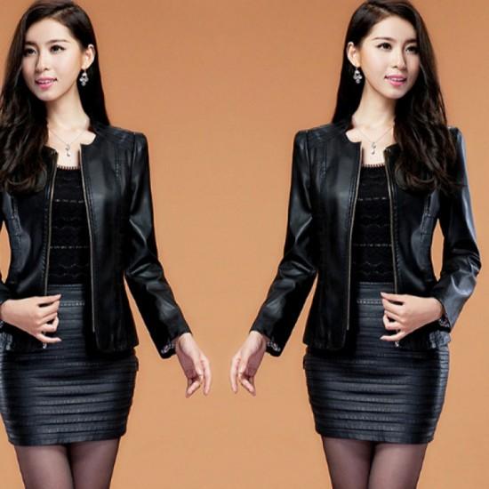 Women's Fashion Locomotive PU Leather Casual Jacket-Black image