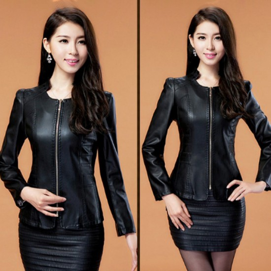 Women's Fashion Locomotive PU Leather Casual Jacket-Black image
