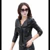 Women Fashion Black Color Leather Casual Jacket image