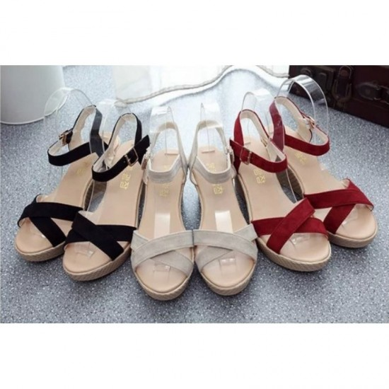 Red Color Vintage High Heel Wedge Sandals For Women image