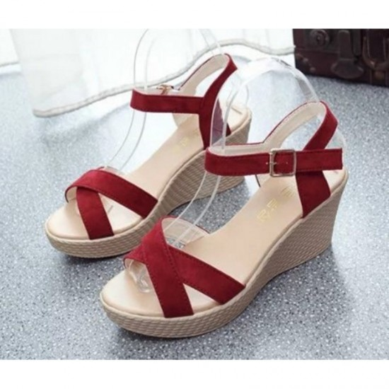 Red Color Vintage High Heel Wedge Sandals For Women image