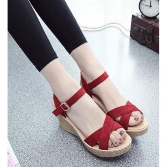 Vintage High Heel Wedge Sandals For Women-Red image
