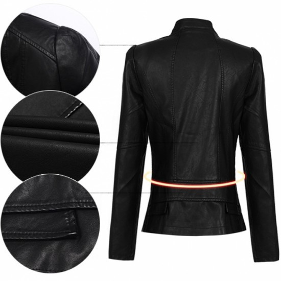 Slim Body Fit Women Paragraph Casual Leather Jacket-Black image
