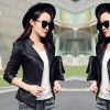 Slim Body Fit Women Paragraph Casual Leather Jacket image