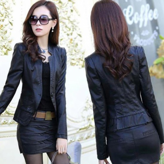 Ladies Leisure Style Slim Body Fit leather Casual Jacket & Leather Skirt-Black image