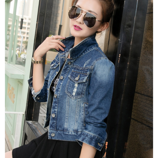 Women Fashion Latest Design Ripped Denim Slim Wild Jacket-Blue image