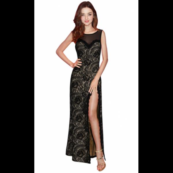 New Slim Sexy Round Neck Sleeveless High Elegant Stripe Cut Women Maxi Dress image