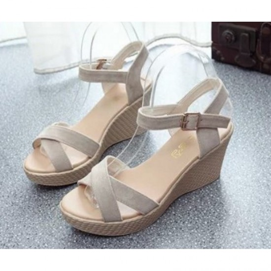 Vintage High Heel Wedge Sandals For Women-Cream image