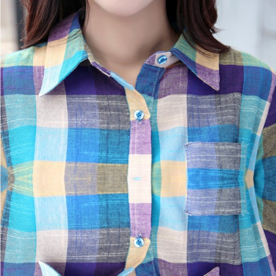 New Style Squares Shaded Cotton And Linen Long Sleeve Casual Shirt-Green image