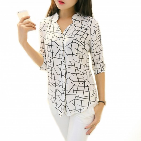 Womens Irregular Lines Style Striped Casual Shirt image