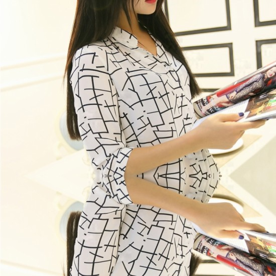 New Fashion Women's Irregular Lines Style Striped Casual Shirt-White image