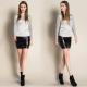 Women Stylish Sexy High Waist Leather Mini Skirt-Black image