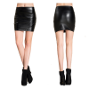 Women Fashion Sexy High Waist Leather Black Mini Skirt image